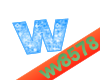 The letter W (Blue)