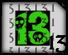 13 Skull Green Lght BlkB
