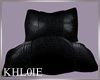 K black leather pillows