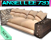 TAN SUEDE COUPLES SOFA
