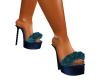 Teal Furry heels