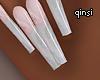 q! white marble nails