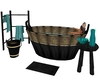 Black Gold Teal Bath Set