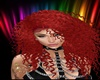Red curly hair,