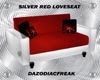 Silver Red Love Seat