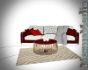 Red and white couch