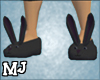 (T)Black bunny slippers