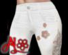 White Jeans Lace Cutout