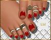 [LW]Red Pedicure+Rings