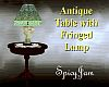 Antq Tbl/Lamp Teal Glass