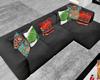 :3 Black Corner Couch