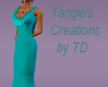 teal drpe back gown