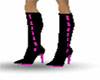 black & pink boots