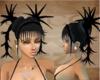 black spiked ponytails
