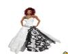blk  white wedding gown