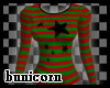 Red&Green Stripe Top