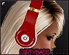 !B Red White Headphones