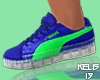 K. Blue and Lime Pumas