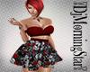 RedBlk Skull Roses dress