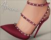 $ Studded Heels Burgundy